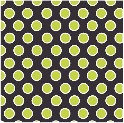 Black with lime and white dots craft  vinyl - HTV -  Adhesive Vinyl -  large polka dot pattern HTV725 - Breeze Crafts