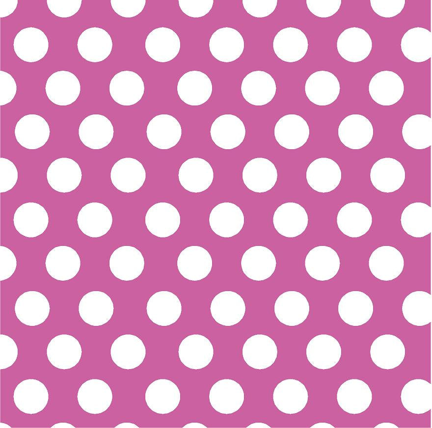 Fuchsia with white dots craft  vinyl - HTV -  Adhesive Vinyl -  large white polka dot pattern - Breeze Crafts