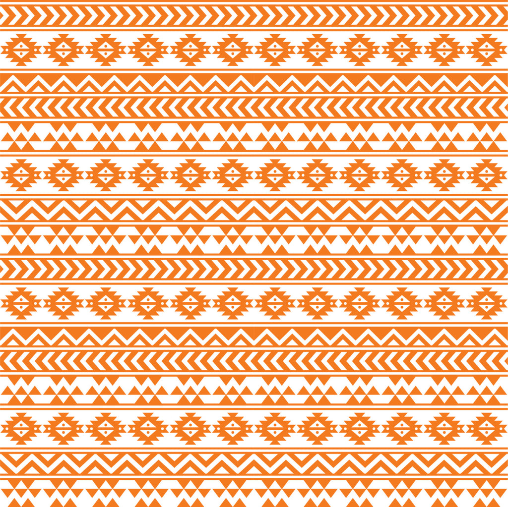 Orange and white tribal pattern craft  vinyl - HTV -  Adhesive Vinyl -  Aztec Peruvian pattern HTV909