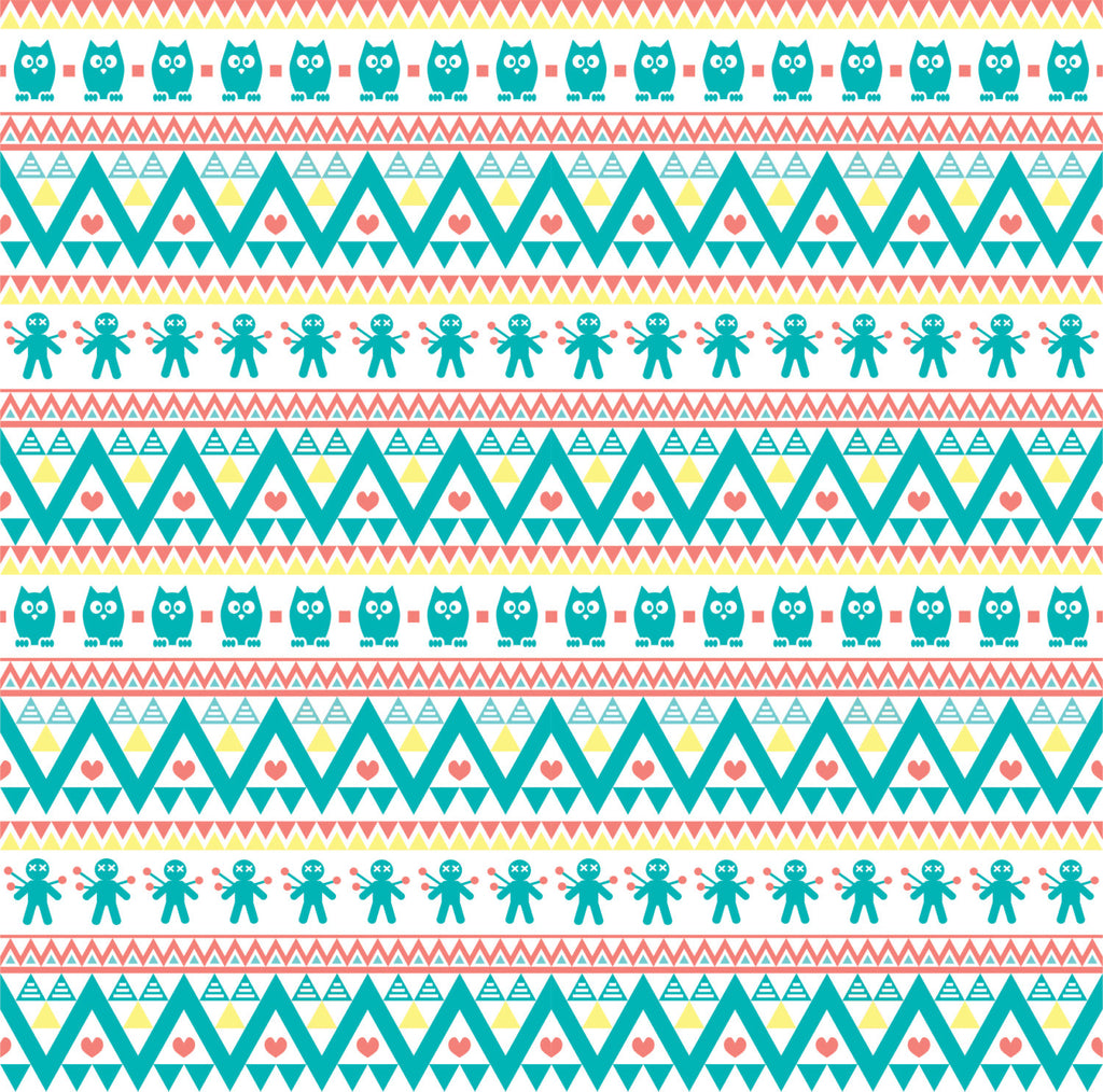 Teal coral yellow and white owl tribal pattern craft  vinyl - HTV -  Adhesive Vinyl -  Aztec Peruvian pattern HTV300