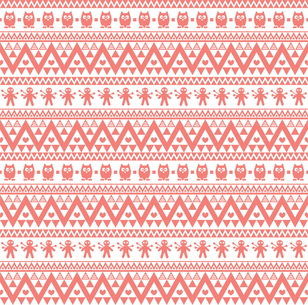 Coral  owl tribal pattern craft  vinyl - HTV -  Adhesive Vinyl -  Aztec Peruvian pattern HTV327 - Breeze Crafts