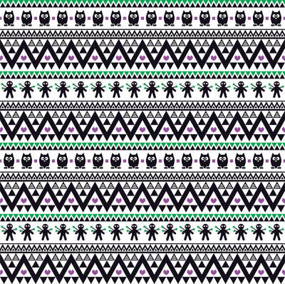 Black purple and green owl tribal pattern craft vinyl - HTV -  Adhesive Vinyl -  Aztec Peruvian pattern Halloween  HTV313 - Breeze Crafts