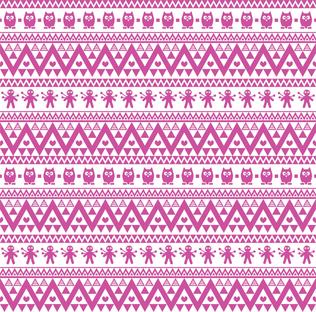 Fuchsia owl tribal pattern craft  vinyl - HTV -  Adhesive Vinyl -  Aztec Peruvian pattern HTV319 - Breeze Crafts