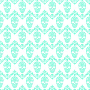 Aqua and white floral skull pattern craft vinyl sheet - HTV -  Adhesive Vinyl -  Halloween pattern HTV807 - Breeze Crafts