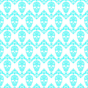 Cyan and white floral skull pattern craft vinyl sheet - HTV -  Adhesive Vinyl -  Halloween pattern HTV808 - Breeze Crafts