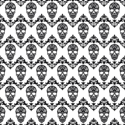 Black and white floral skull pattern craft  vinyl sheet - HTV -  Adhesive Vinyl -  Halloween pattern HTV800 - Breeze Crafts