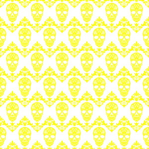 Yellow and white floral skull pattern craft vinyl sheet - HTV -  Adhesive Vinyl -  Halloween pattern HTV802