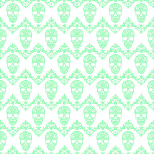 Mint and white floral skull pattern craft vinyl sheet - HTV -  Adhesive Vinyl -  Halloween pattern HTV806