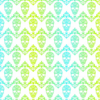 Cyan lime and white floral skull gradient pattern craft vinyl sheet - HTV -  Adhesive Vinyl -  Halloween pattern HTV824 - Breeze Crafts