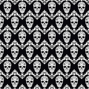 Black and white floral skull pattern craft  vinyl sheet - HTV -  Adhesive Vinyl -  Halloween pattern HTV829 - Breeze Crafts