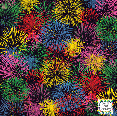 Fireworks patterned craft vinyl sheets - HTV -  Adhesive Vinyl -  red green yellow blue pink and black pattern New Years 4th of July HTV155 - Breeze Crafts