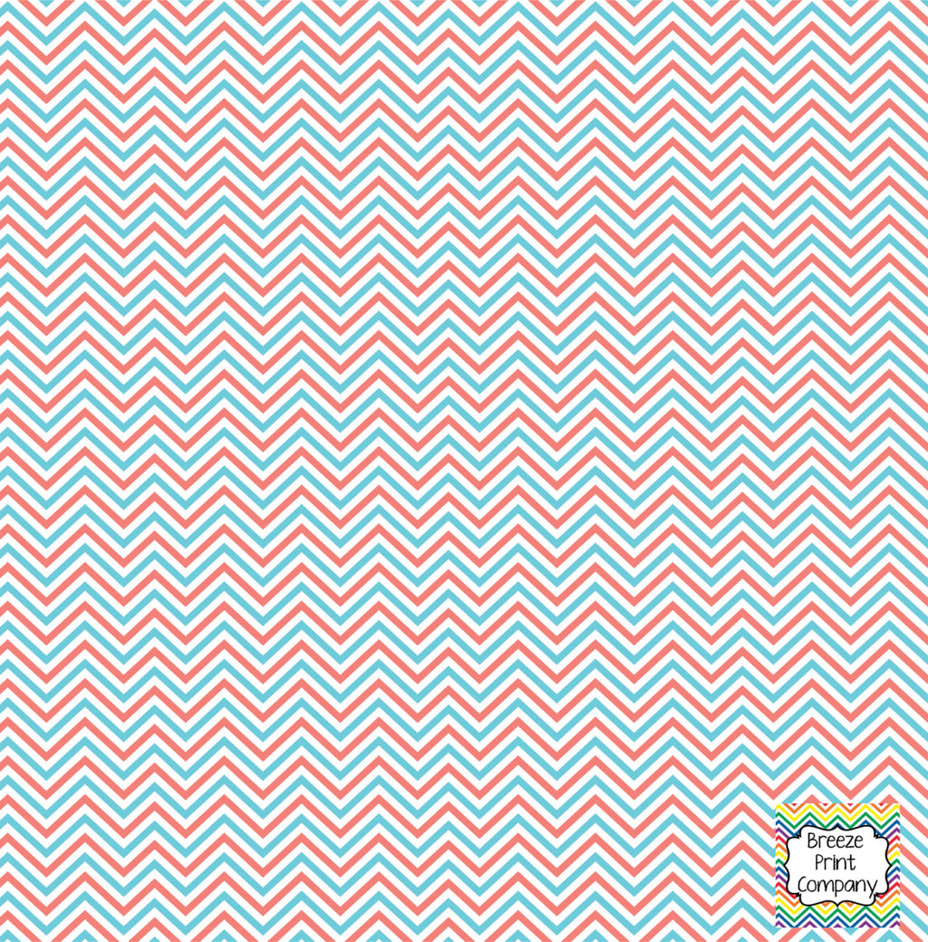Coral aqua and white mini chevron craft  vinyl - HTV -  Adhesive Vinyl -  zig zag pattern HTV1508 - Breeze Crafts