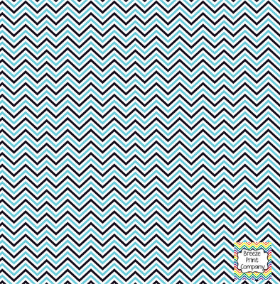 Black, aqua and white mini chevron craft  vinyl - HTV -  Adhesive Vinyl -  zig zag pattern HTV1513 - Breeze Crafts