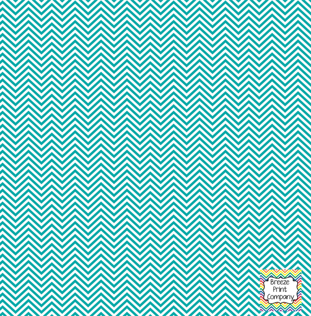 Teal and white mini chevron craft  vinyl - HTV -  Adhesive Vinyl -  zig zag pattern HTV1516