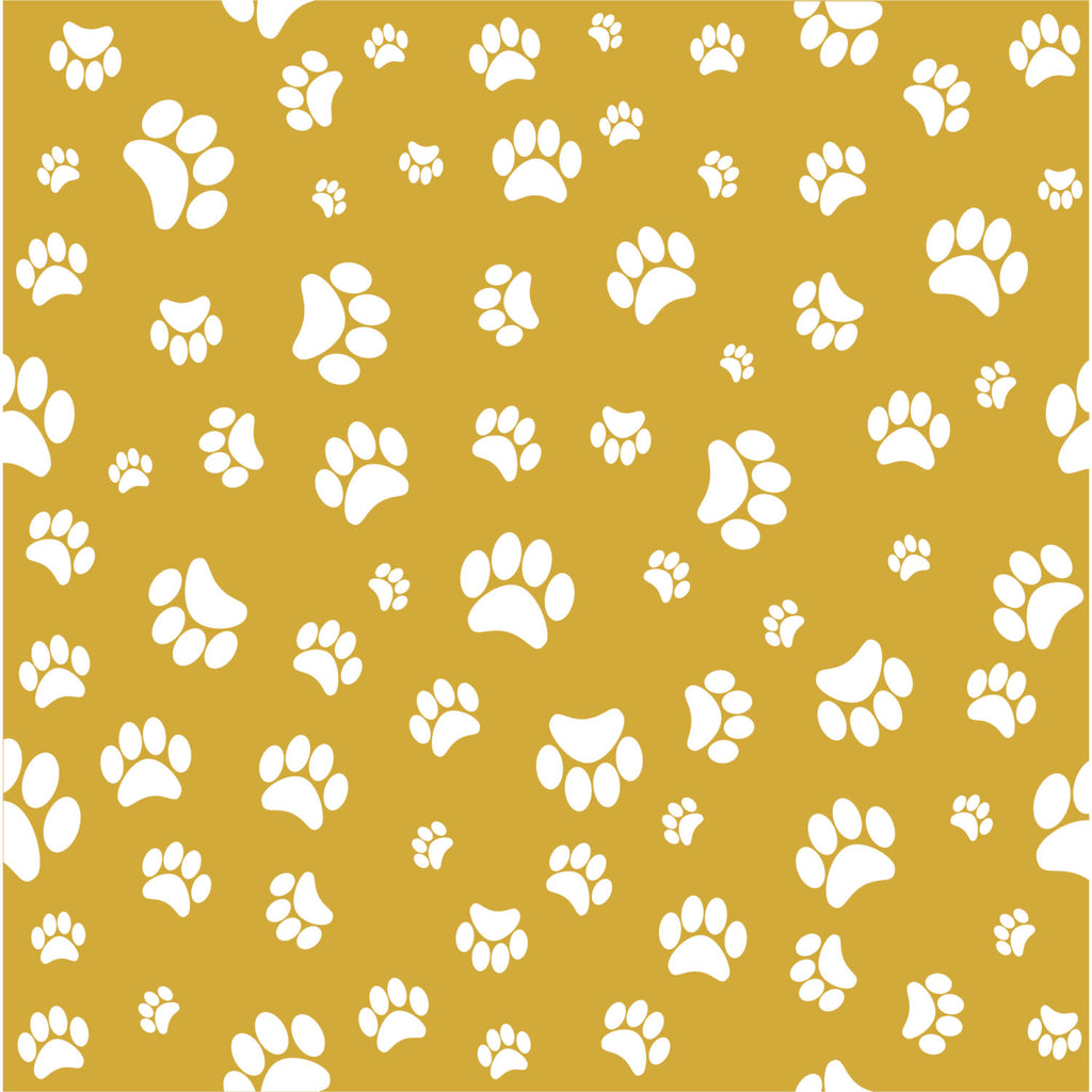 Gold with white paw prints craft  vinyl sheet - HTV -  Adhesive Vinyl -   pattern HTV602 - Breeze Crafts