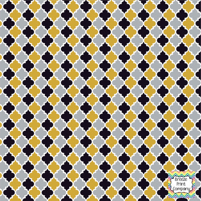 Black, grey and gold quartrefoil craft  vinyl - HTV -  Adhesive Vinyl -  quartrefoil pattern   HTV1403 - Breeze Crafts