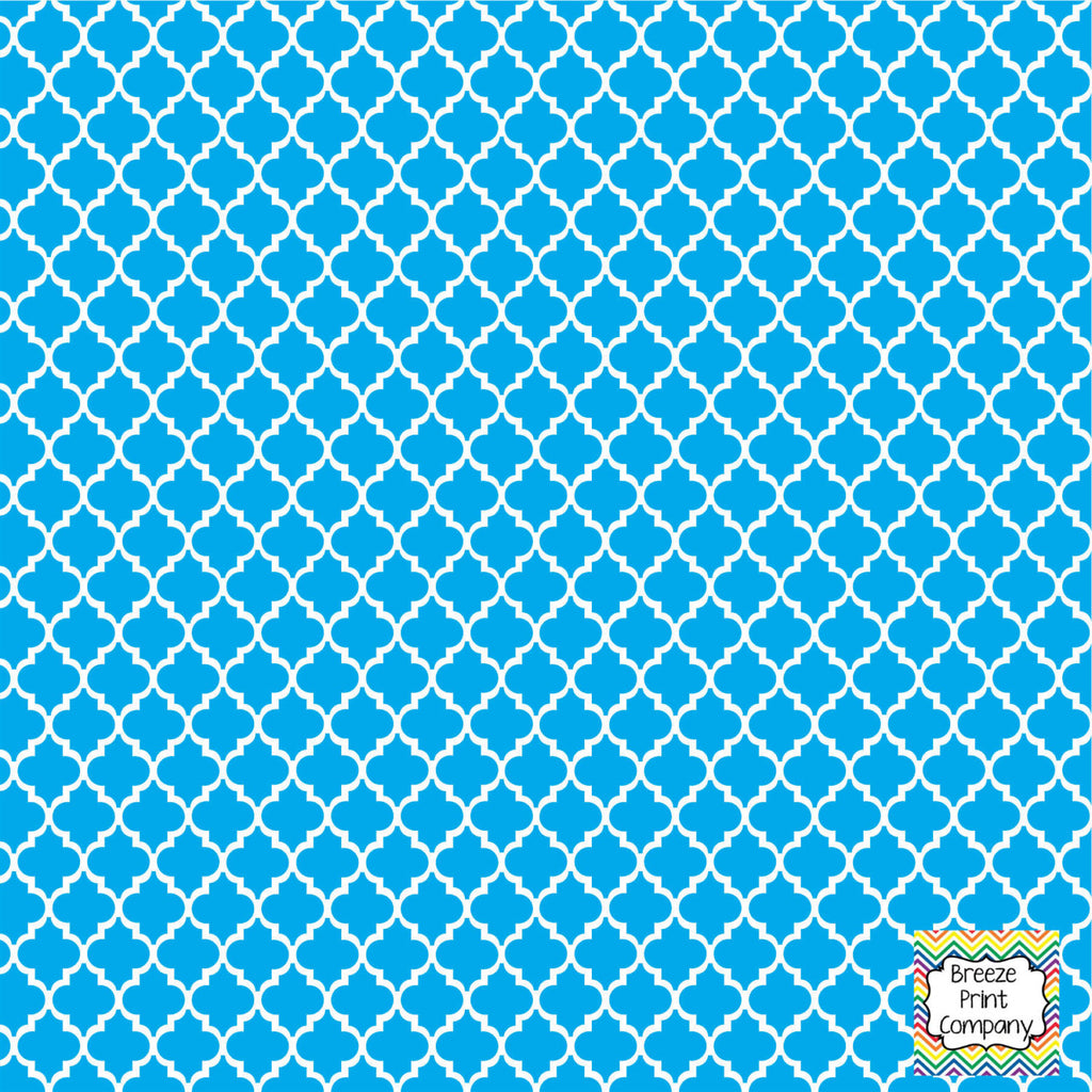 Cyan quartrefoil craft  vinyl - HTV -  Adhesive Vinyl -  quartrefoil pattern   HTV1410 - Breeze Crafts