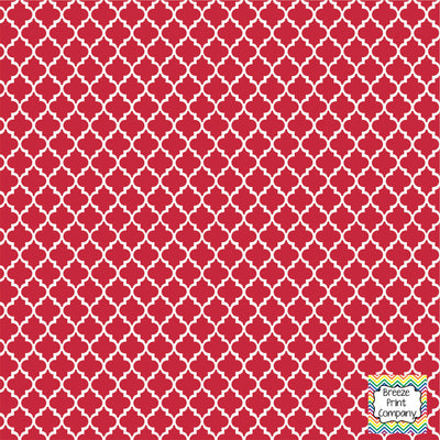 Brick red and white quartrefoil craft  vinyl - HTV -  Adhesive Vinyl -  quartrefoil pattern   HTV1406 - Breeze Crafts