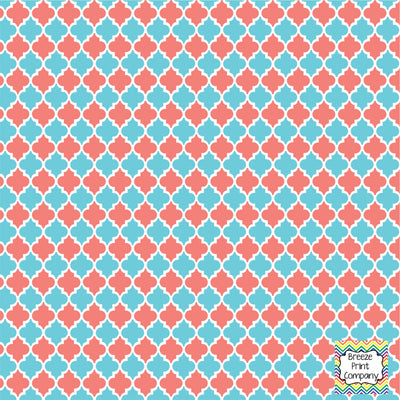 Coral and aqua quartrefoil craft  vinyl - HTV -  Adhesive Vinyl -  quartrefoil pattern   HTV1408 - Breeze Crafts
