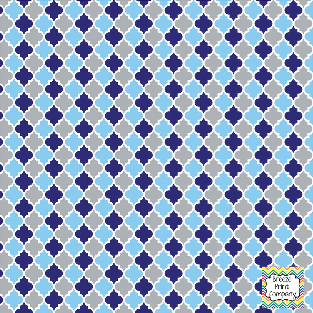 Navy, light blue and grey quatrefoil craft vinyl - HTV -  Adhesive Vinyl -  quatrefoil pattern HTV1428