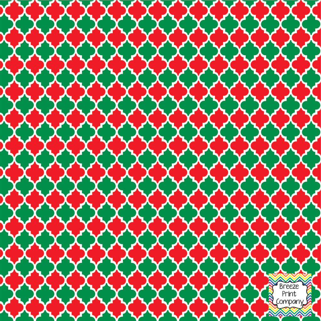 Red and green quatrefoil craft  vinyl - HTV -  Adhesive Vinyl -  quatrefoil pattern Christmas HTV1439