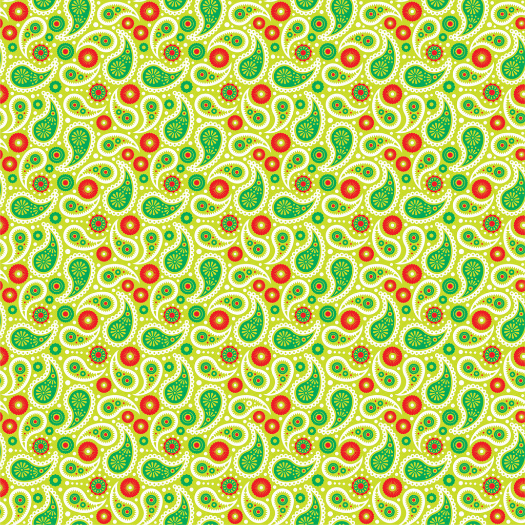Lime, Green, Red and White paisley pattern craft  vinyl sheet - HTV - Adhesive Vinyl -  Christmas HTV1930