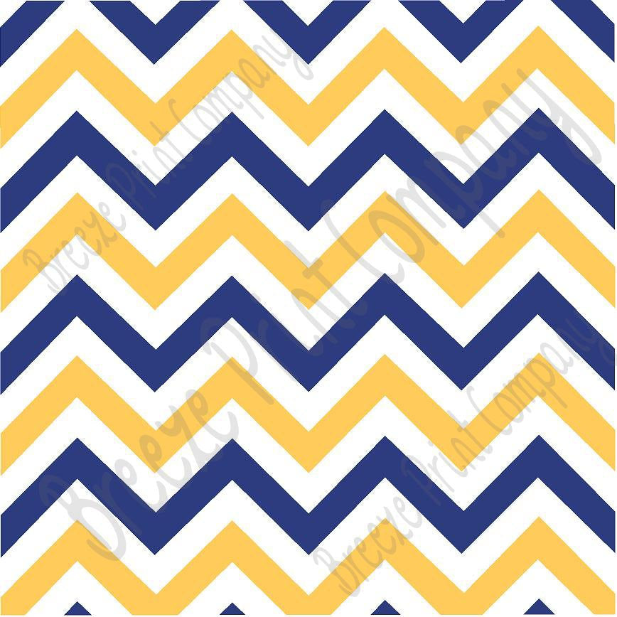 Navy blue, white and yellow gold chevron craft  vinyl - HTV -  Adhesive Vinyl -  large zig zag pattern sun yellow  HTV5006