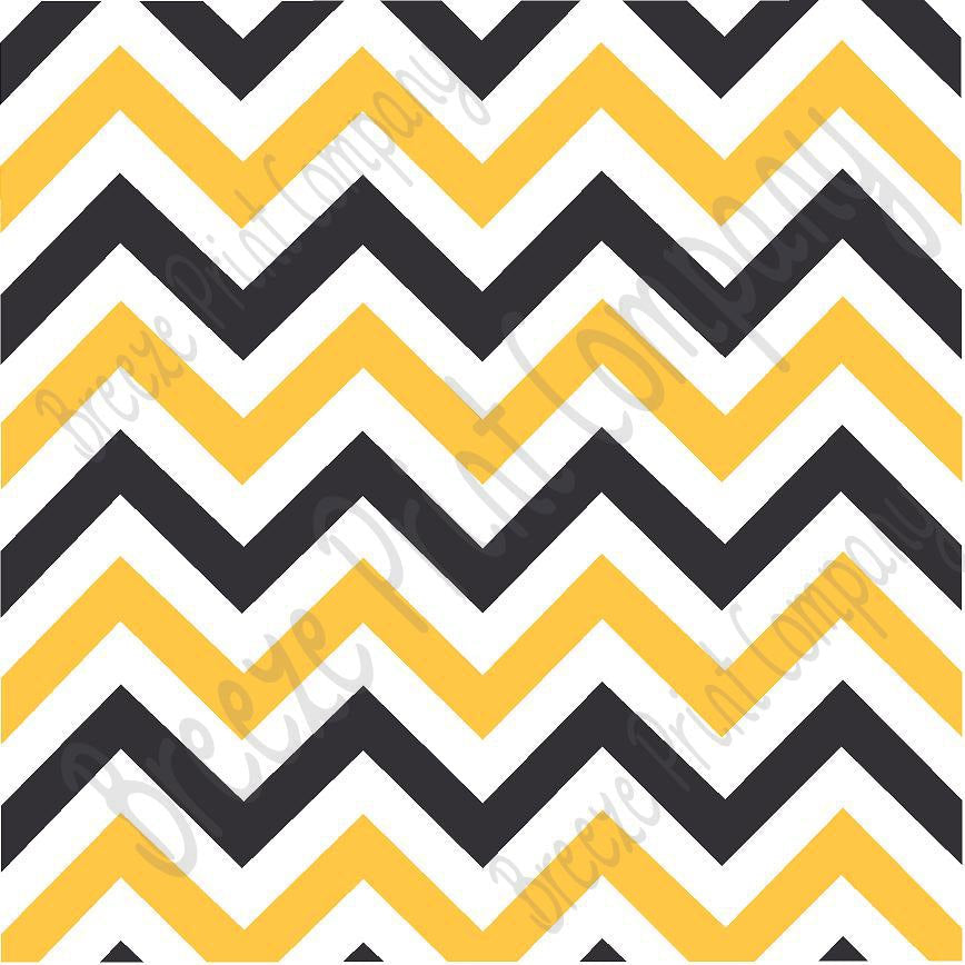 Black, white and yellow gold chevron craft  vinyl - HTV -  Adhesive Vinyl -  black and gold zig zag pattern   HTV360 - Breeze Crafts