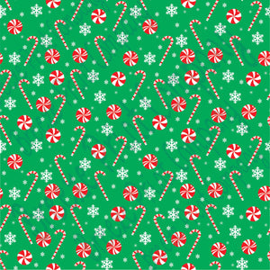 Green candy cane and snowflake craft  vinyl sheet - HTV -  Adhesive Vinyl -  winter Christmas pattern HTV1702