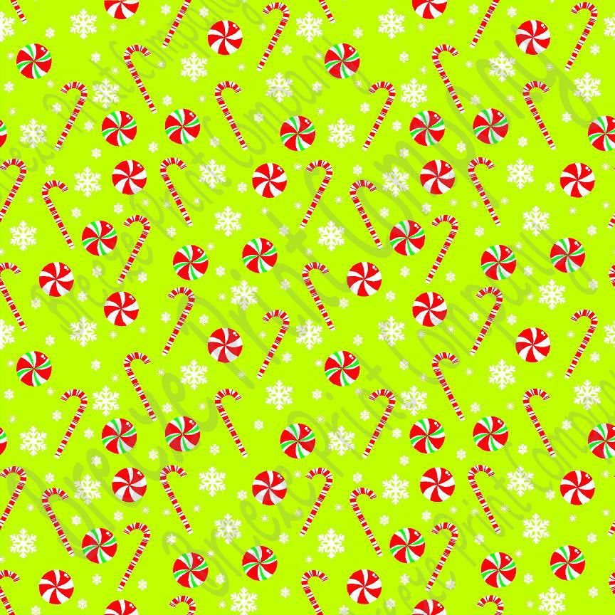Lime candy cane and snowflake craft  vinyl sheet - HTV -  Adhesive Vinyl -  winter Christmas pattern HTV1700