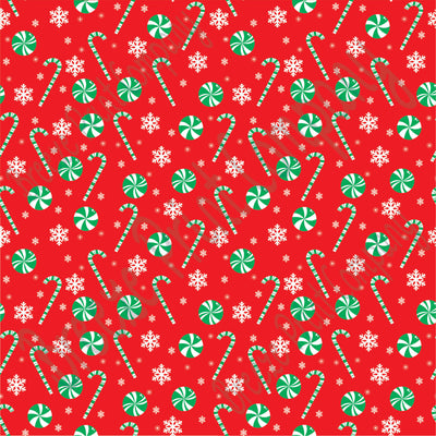 Red and green candy cane and snowflake craft  vinyl sheet - HTV -  Adhesive Vinyl -  winter Christmas pattern HTV1705