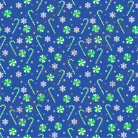 Blue with green candy cane and snowflake craft  vinyl sheet - HTV -  Adhesive Vinyl -  winter Christmas pattern HTV1706 - Breeze Crafts