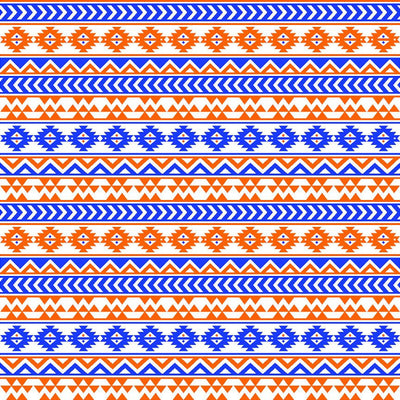 Blue and orange tribal pattern craft  vinyl - HTV -  Adhesive Vinyl -  Aztec Peruvian pattern HTV964 - Breeze Crafts