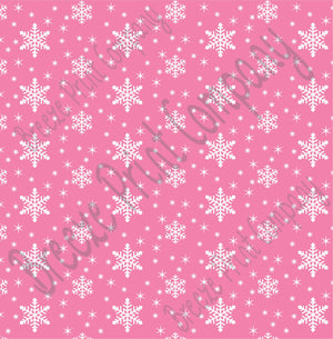 Pink snowflake craft  vinyl sheet - HTV -  Adhesive Vinyl -  medium pink winter pattern holiday HTV1311