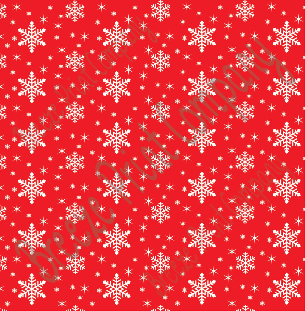 Red snowflake craft  vinyl sheet - HTV -  Adhesive Vinyl -  winter pattern holiday Christmas HTV1316