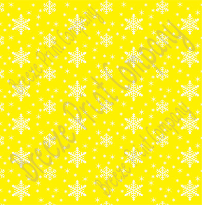 Yellow snowflake craft  vinyl sheet - HTV -  Adhesive Vinyl -  winter pattern holiday HTV1318