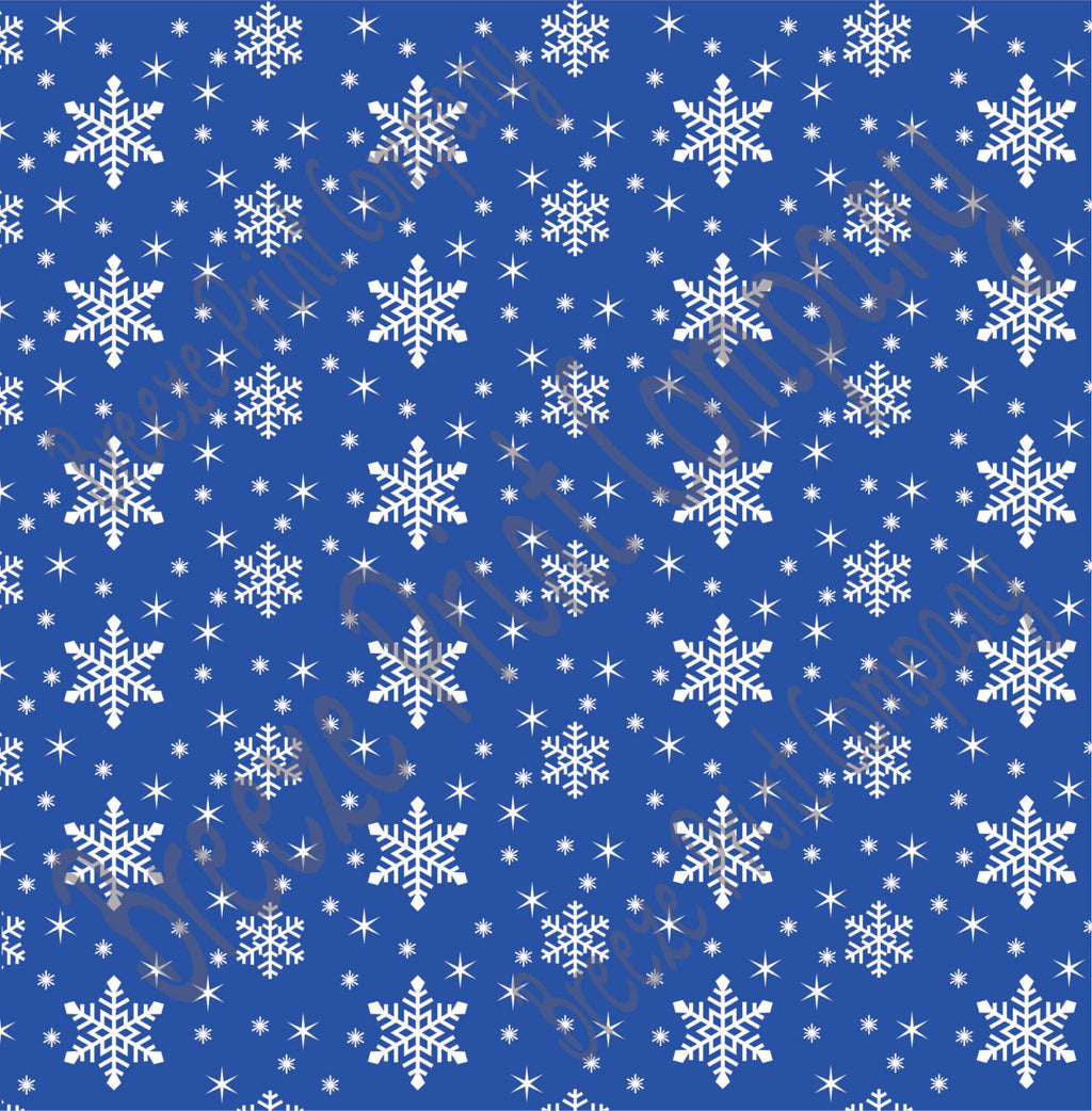 Blue snowflake craft  vinyl sheet - HTV -  Adhesive Vinyl -  winter pattern holiday HTV1319 - Breeze Crafts