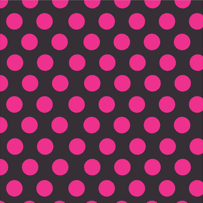Black with magenta dots craft  vinyl - HTV -  Adhesive Vinyl -  large polka dot pattern  HTV780 - Breeze Crafts