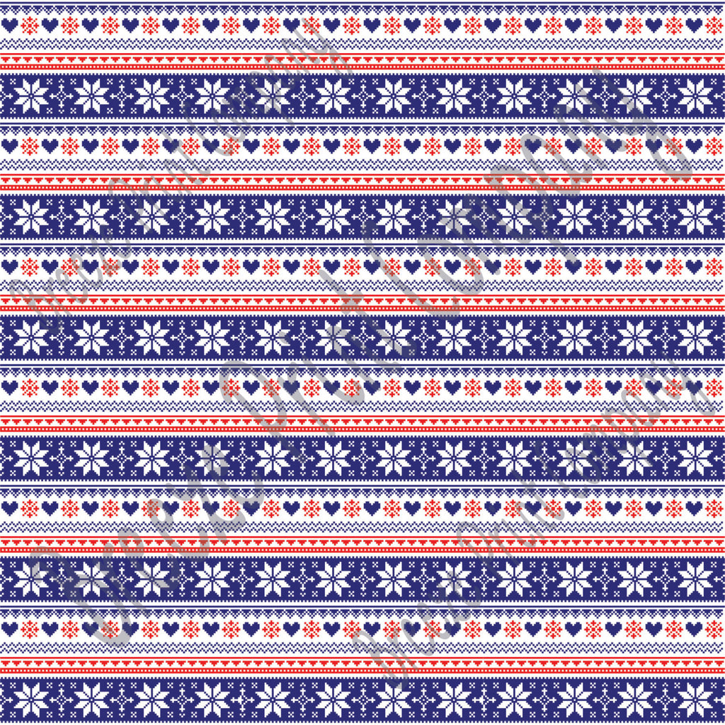 Navy, red and white Christmas pattern craft  vinyl sheet - HTV -  Adhesive Vinyl -  Nordic knitted sweater pattern HTV3605