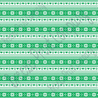 Green and white Christmas pattern craft  vinyl sheet - HTV -  Adhesive Vinyl -  Nordic knitted sweater pattern HTV3608