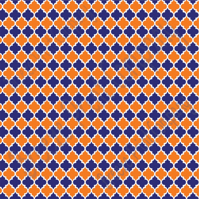 Blue and orange quartrefoil craft  vinyl - HTV -  Adhesive Vinyl -  quartrefoil pattern HTV1443 - Breeze Crafts