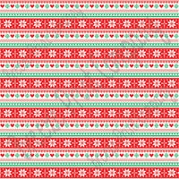 Red, green and white Christmas pattern craft vinyl sheet - HTV -  Adhesive Vinyl -  knitted sweater pattern Alpine Nordic HTV3600