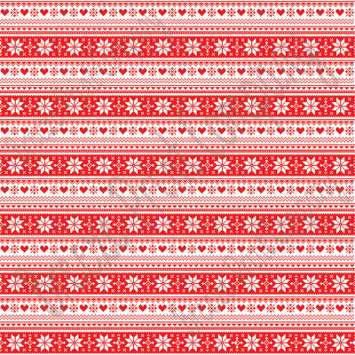 Red and white Christmas pattern craft  vinyl sheet - HTV -  Adhesive Vinyl -  Nordic knitted sweater pattern HTV3602