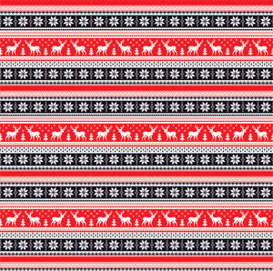 Black, red and white Christmas pattern craft  vinyl sheet - HTV -  Adhesive Vinyl -  reindeer Nordic knitted sweater pattern HTV3612 - Breeze Crafts