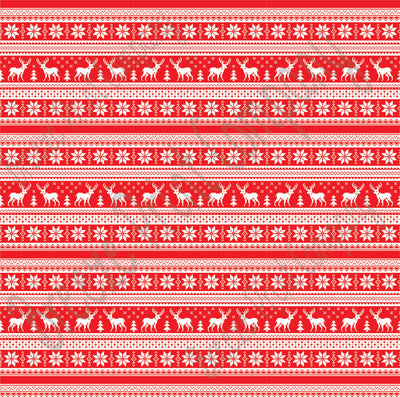 Red and white Christmas pattern craft  vinyl sheet - HTV -  Adhesive Vinyl -  reindeer Nordic knitted sweater pattern HTV3615