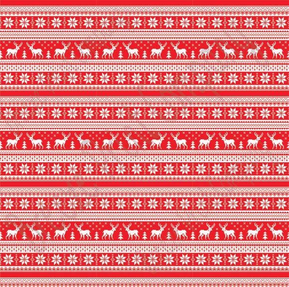7307a703a4eb33 Red and white Christmas pattern craft vinyl sheet - HTV - Adhesive Vinyl -  reindeer Nordic