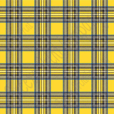 Yellow tartan plaid craft  vinyl sheet - HTV -  Adhesive Vinyl -  with blue, black and white HTV1827