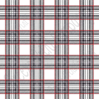 White, red and black tartan plaid craft  vinyl sheet - HTV -  Adhesive Vinyl -  Valentine's  Day HTV1816
