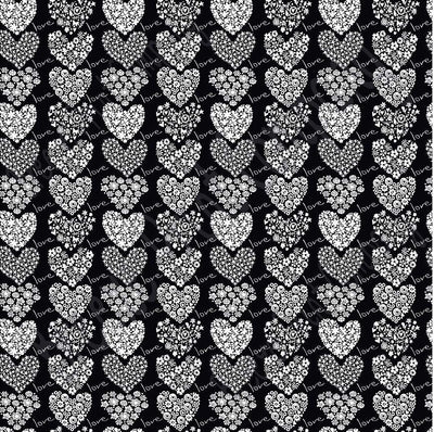 Black and white floral heart craft  vinyl sheet - HTV -  Adhesive Vinyl -  Valentine's Day HTV3901 - Breeze Crafts