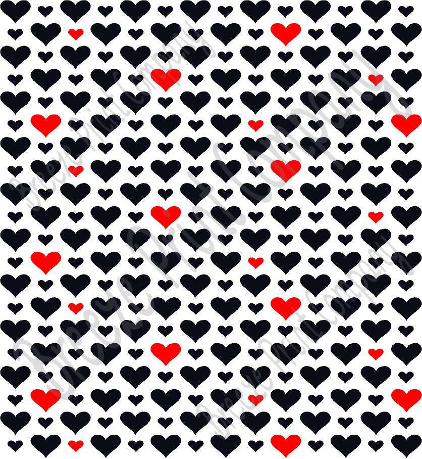 White with black and red heart craft patterned vinyl sheet - HTV -  Adhesive Vinyl -  Valentine's Day HTV3926